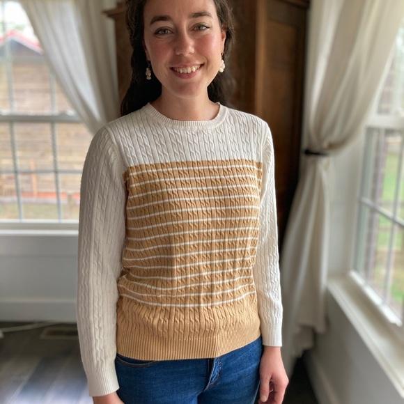Kim Rogers Cream & Tan Crew Neck Sweater, Size SP